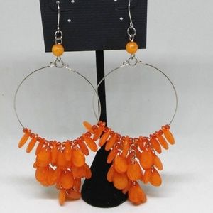 Earrings Orange Beaded Hoop Drop/Dangle 1277